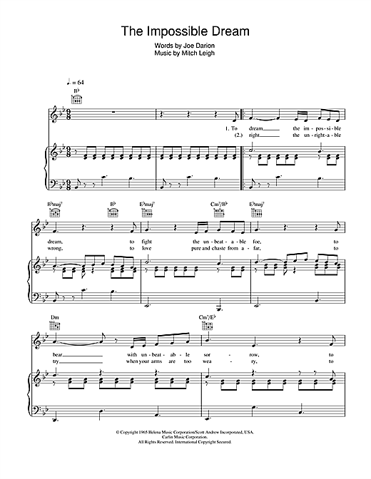 Andy Williams The Impossible Dream sheet music notes and chords. Download Printable PDF.