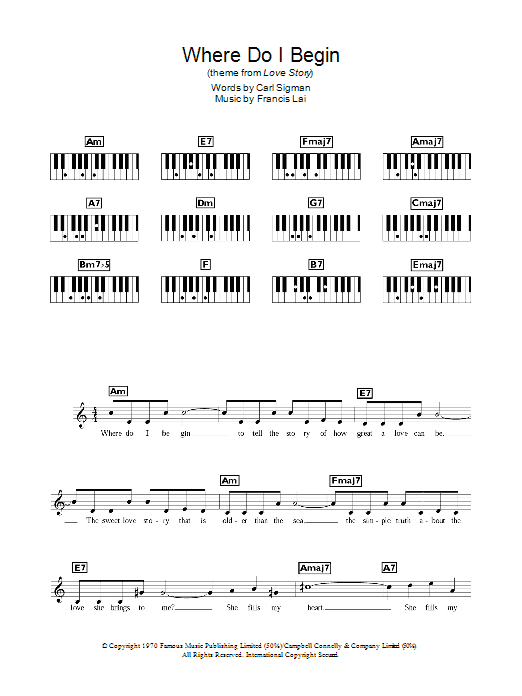 Andy Williams Where Do I Begin (theme from Love Story) sheet music notes and chords. Download Printable PDF.
