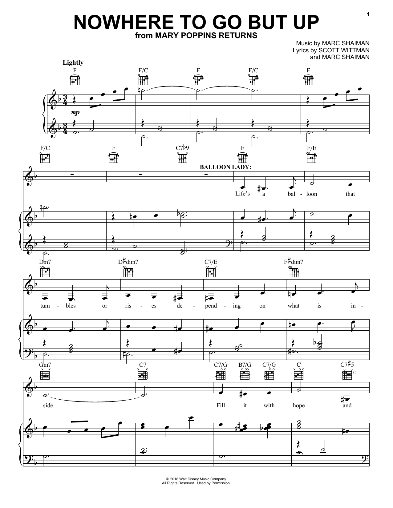 Angela Lansbury & Company Nowhere To Go But Up (from Mary Poppins Returns) sheet music notes and chords
