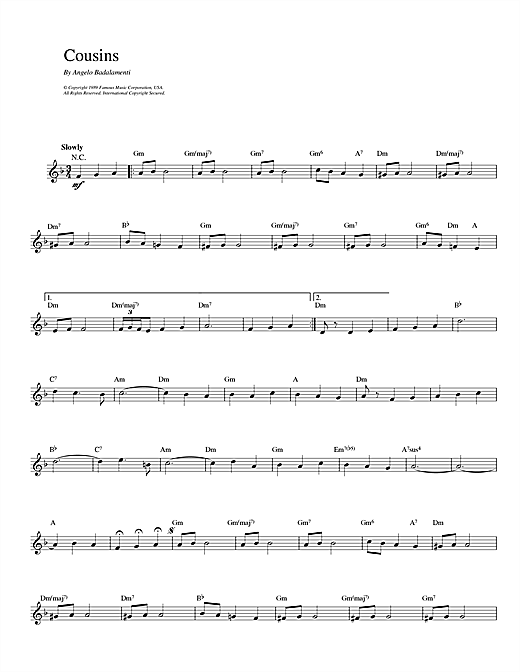 Angelo Badalamenti Cousins sheet music notes and chords. Download Printable PDF.