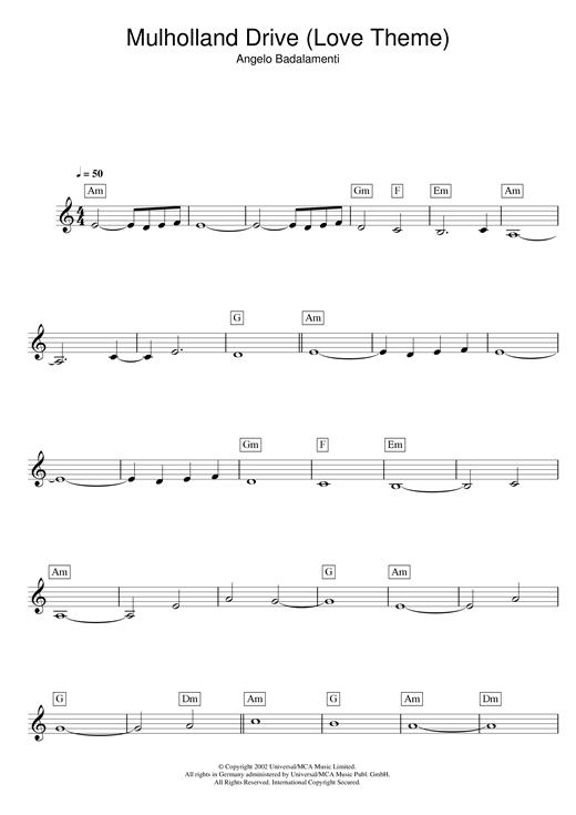 Angelo Badalamenti Mulholland Drive (Love Theme) sheet music notes and chords. Download Printable PDF.