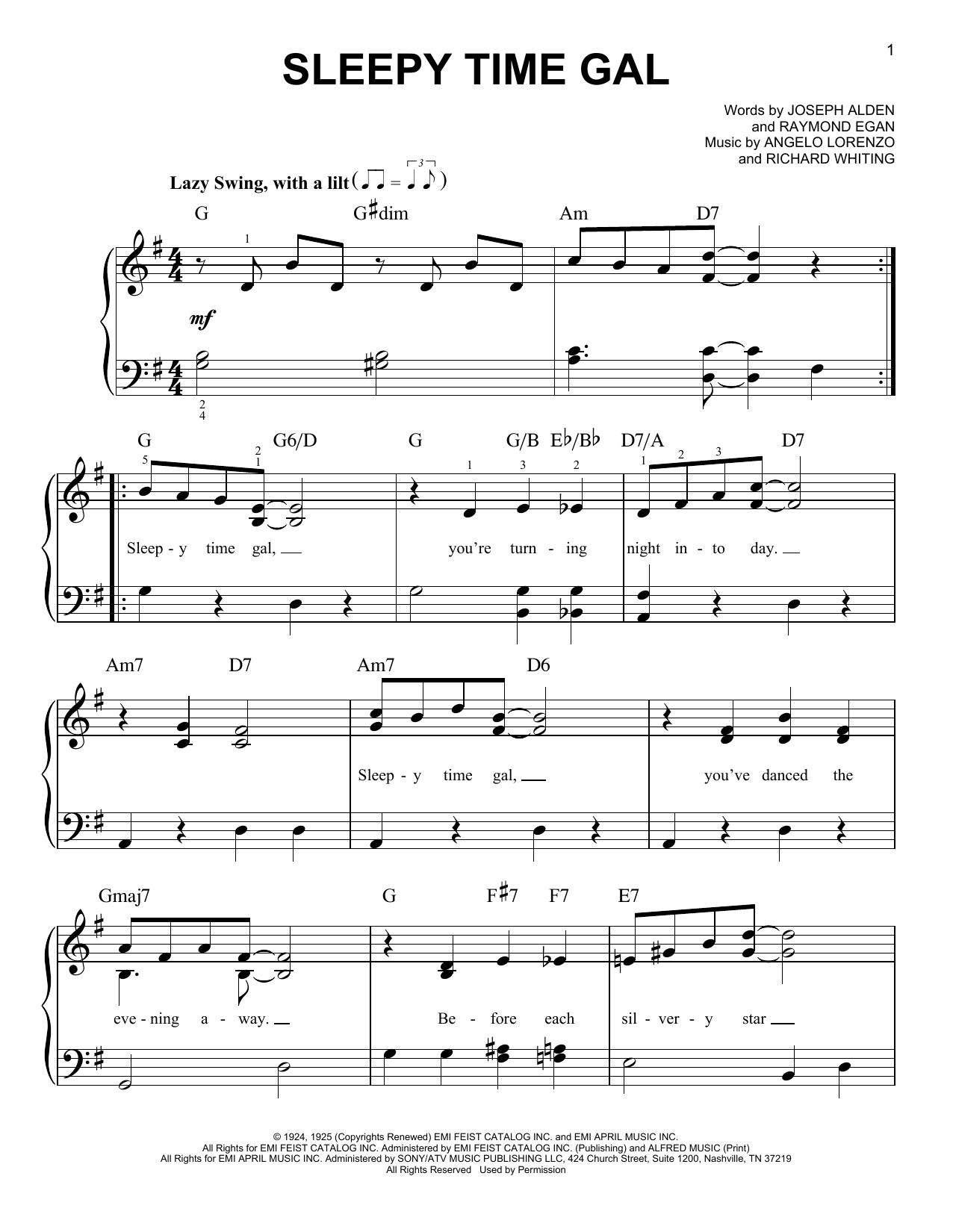 Angelo Lorenzo Sleepy Time Gal sheet music notes and chords. Download Printable PDF.