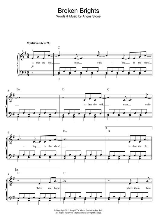 Angus Stone Broken Brights sheet music notes and chords. Download Printable PDF.