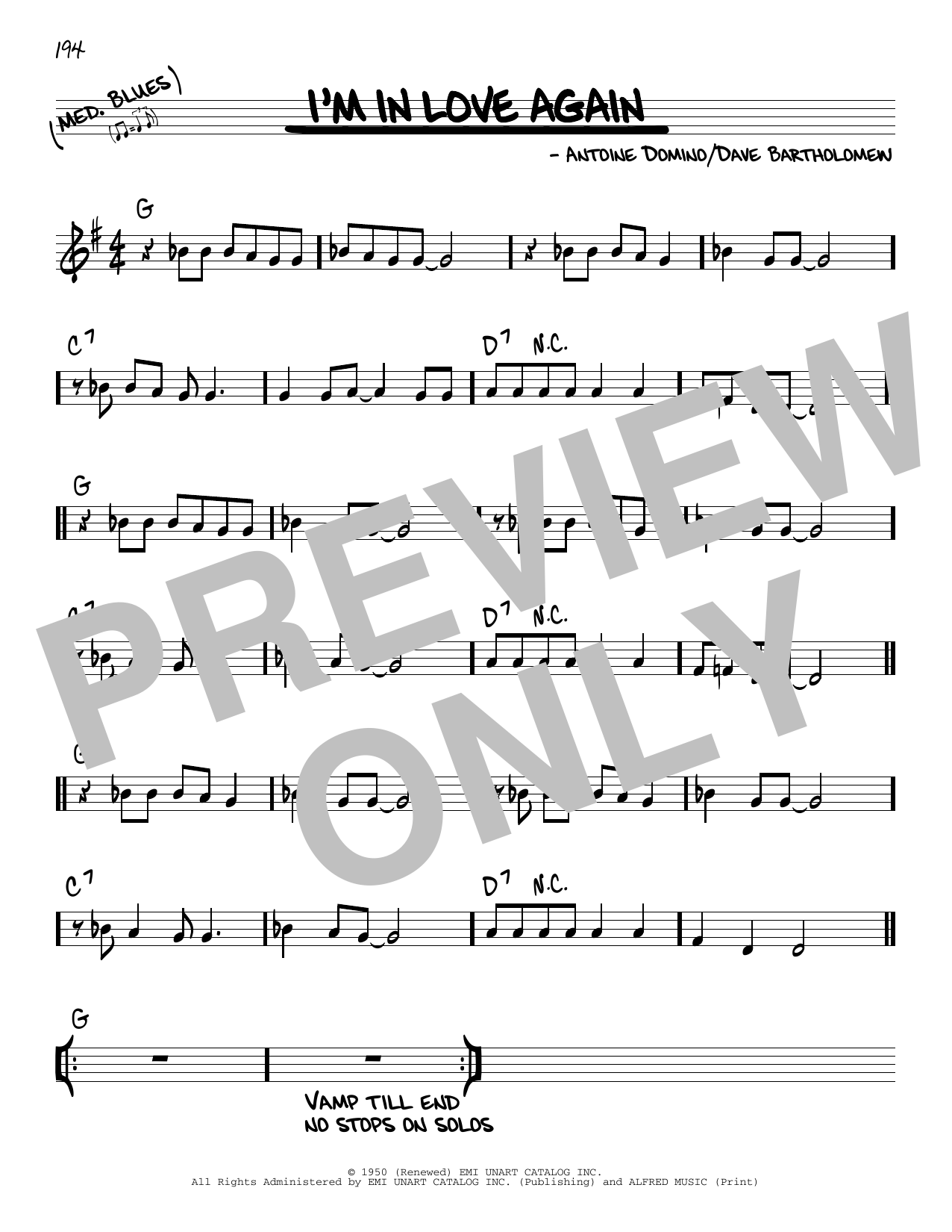 Animals I'm In Love Again sheet music notes and chords. Download Printable PDF.