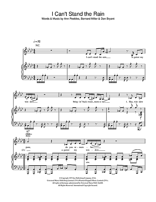 Ann Peebles I Can't Stand The Rain sheet music notes and chords. Download Printable PDF.