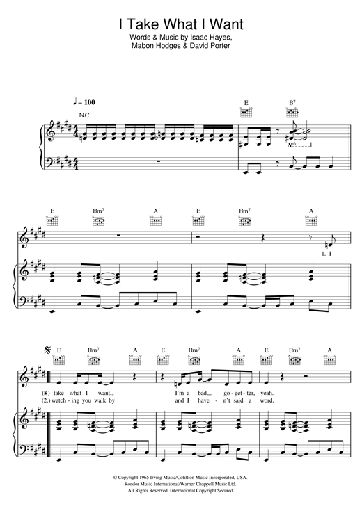Ann Peebles I Take What I Want sheet music notes and chords. Download Printable PDF.