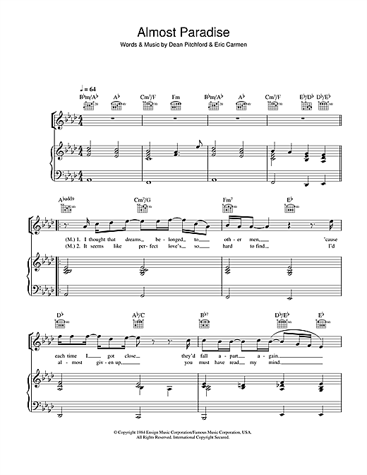 Ann Wilson & Mike Reno Almost Paradise (from Footloose) sheet music notes and chords