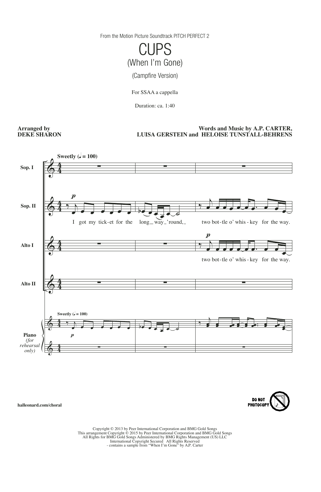 Anna Kendrick Cups (When I'm Gone) (Campfire Version) (from Pitch Perfect 2) (arr. Deke Sharon) sheet music notes and chords. Download Printable PDF.