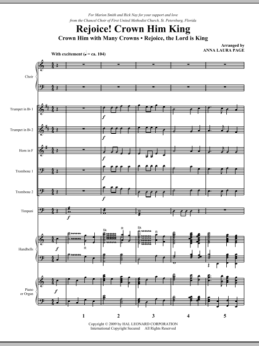Anna Laura Page Rejoice! Crown Him King - Full Score sheet music notes and chords. Download Printable PDF.