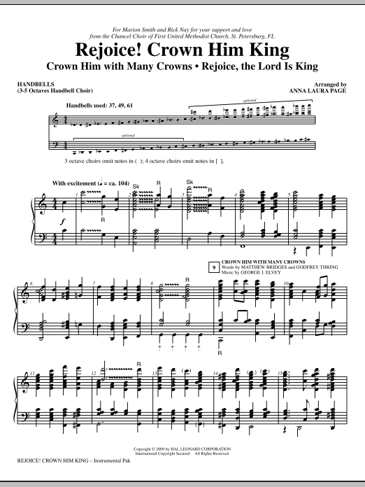 Anna Laura Page Rejoice! Crown Him King - Handbells sheet music notes and chords. Download Printable PDF.