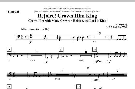 Anna Laura Page Rejoice! Crown Him King - Timpani sheet music notes and chords. Download Printable PDF.