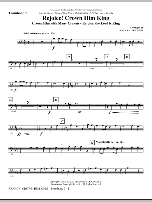 Anna Laura Page Rejoice! Crown Him King - Trombone 2 sheet music notes and chords. Download Printable PDF.