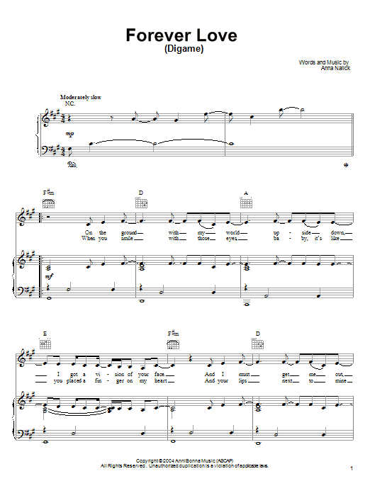 Anna Nalick Forever Love (Digame) sheet music notes and chords. Download Printable PDF.