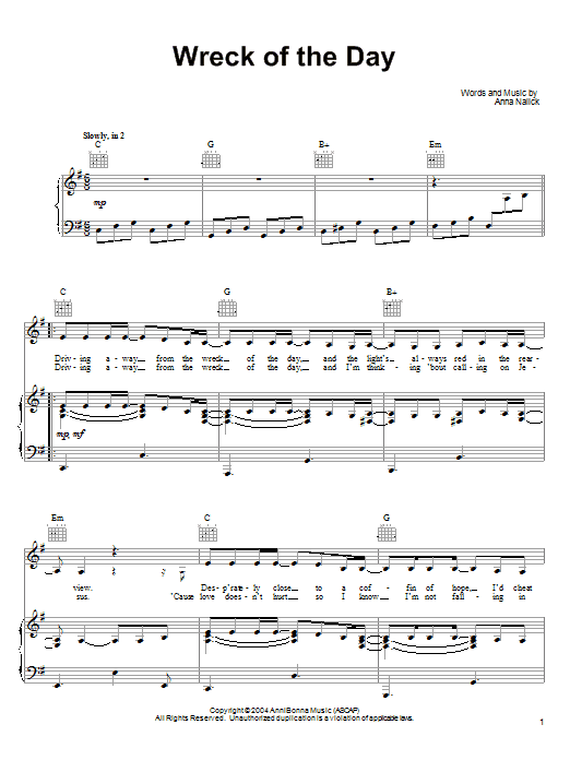 Anna Nalick Wreck of the Day sheet music notes and chords. Download Printable PDF.