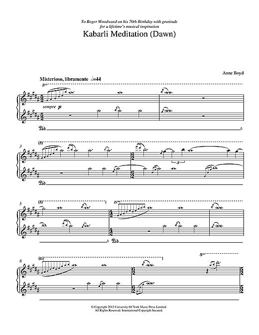 Anne Boyd Kabarli Meditation (Dawn) sheet music notes and chords