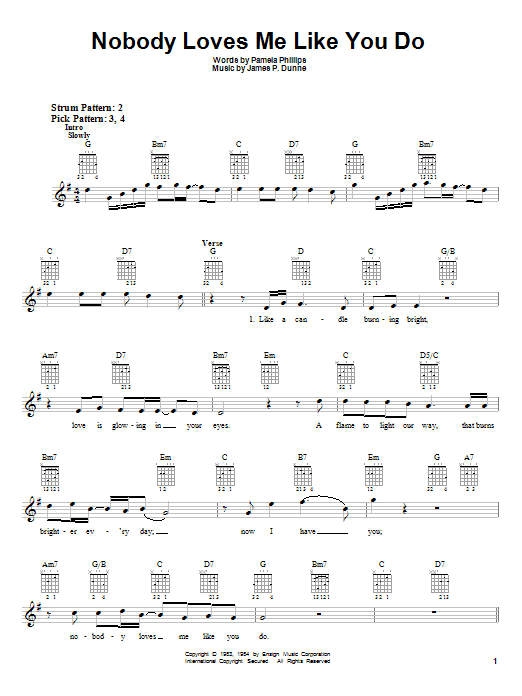 Anne Murray Nobody Loves Me Like You Do sheet music notes and chords. Download Printable PDF.