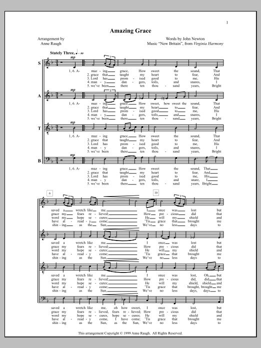 Anne Raugh Amazing Grace sheet music notes and chords. Download Printable PDF.