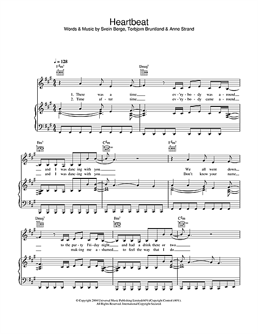 Annie My Heartbeat sheet music notes and chords. Download Printable PDF.