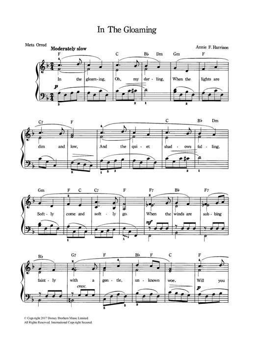 Annie F. Harrison In The Gloaming sheet music notes and chords
