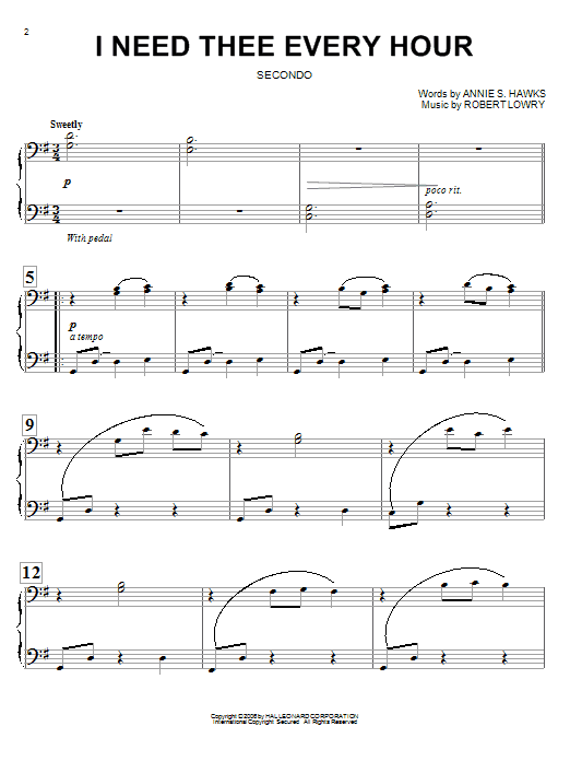 Annie S. Hawks I Need Thee Every Hour sheet music notes and chords. Download Printable PDF.