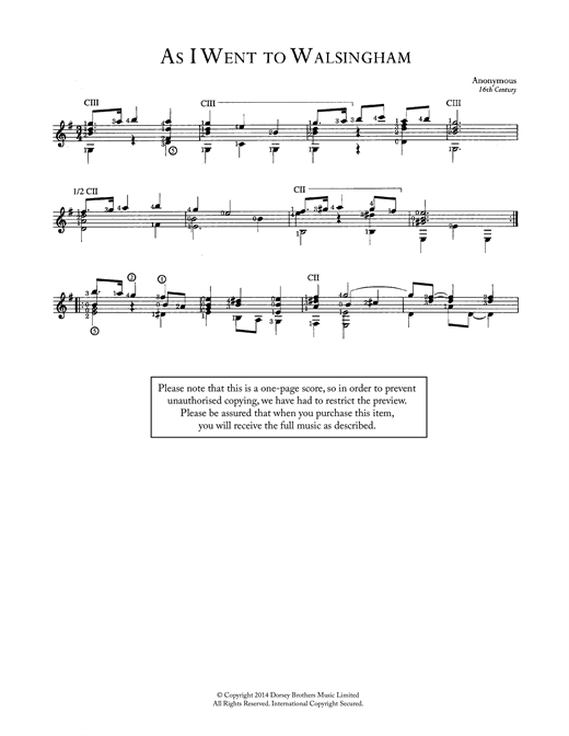Anonymous As I Went To Walsingham sheet music notes and chords. Download Printable PDF.