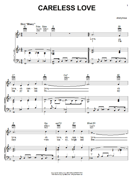 Anonymous Careless Love sheet music notes and chords