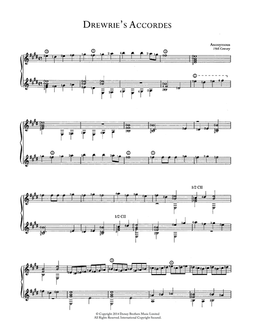 Anonymous Drewrie's Accordes sheet music notes and chords. Download Printable PDF.