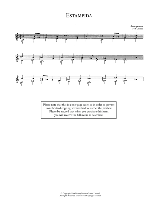 Anonymous Estampida sheet music notes and chords. Download Printable PDF.