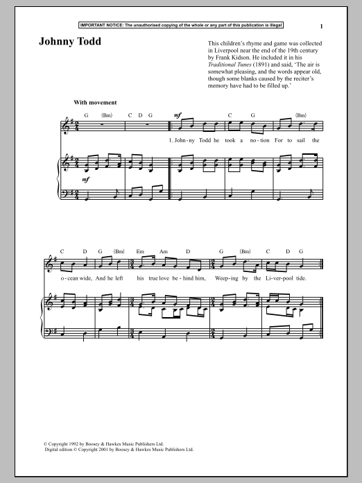 Anonymous Johnny Todd sheet music notes and chords