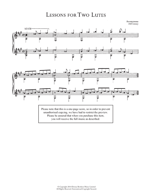 Anonymous Lessons For Two Lutes sheet music notes and chords. Download Printable PDF.