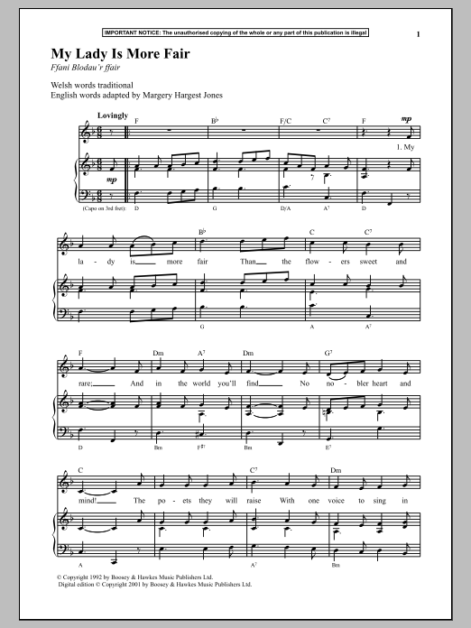 Anonymous My Lady Is More Fair sheet music notes and chords. Download Printable PDF.