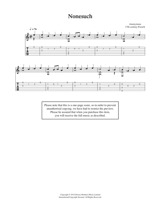 Anonymous Nonesuch sheet music notes and chords. Download Printable PDF.