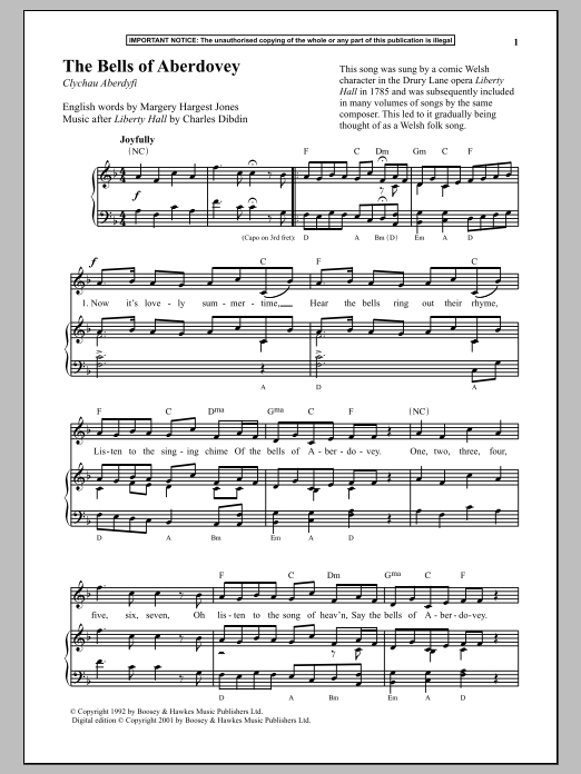 Anonymous The Bells Of Aberdovey sheet music notes and chords. Download Printable PDF.
