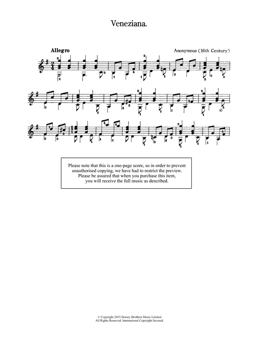 Anonymous Veneziana sheet music notes and chords. Download Printable PDF.