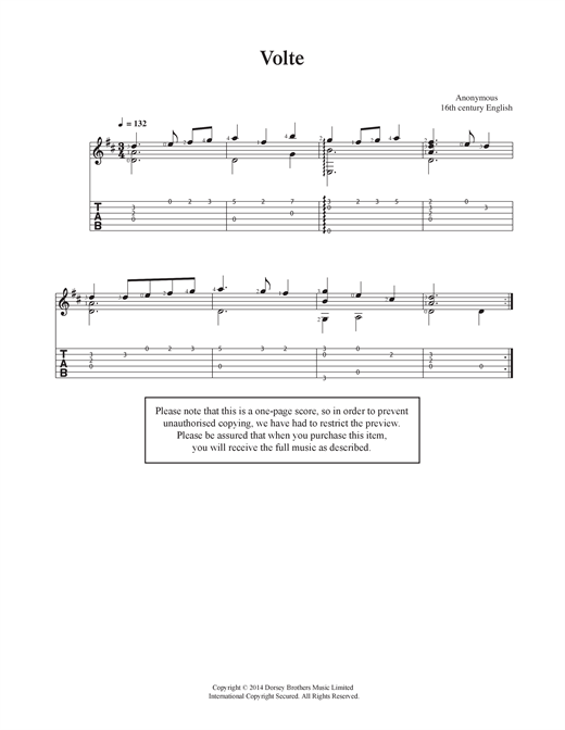 Anonymous Volte sheet music notes and chords. Download Printable PDF.