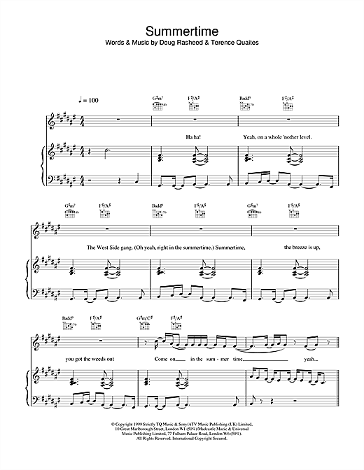 Another Level Summertime sheet music notes and chords