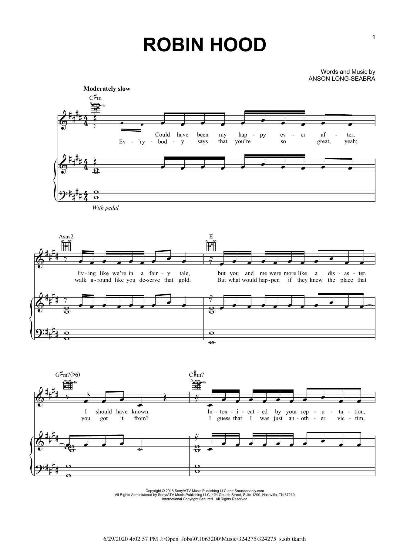 "anson seabra ""robin hood"" sheet music notes chords"