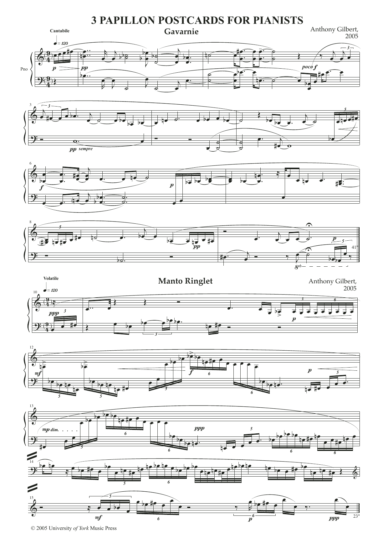 Anthony Gilbert Papillon Postcards sheet music notes and chords. Download Printable PDF.
