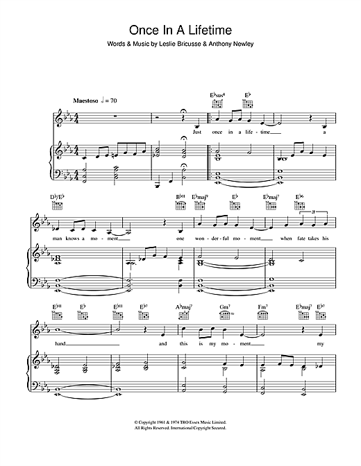 Anthony Newley Once In A Lifetime sheet music notes and chords. Download Printable PDF.