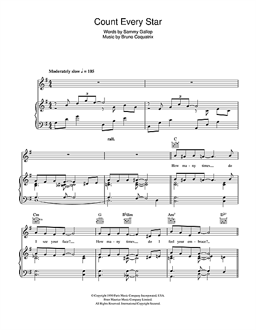 Anthony Ray Count Every Star sheet music notes and chords. Download Printable PDF.