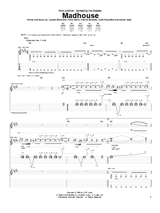 Anthrax Madhouse sheet music notes and chords. Download Printable PDF.