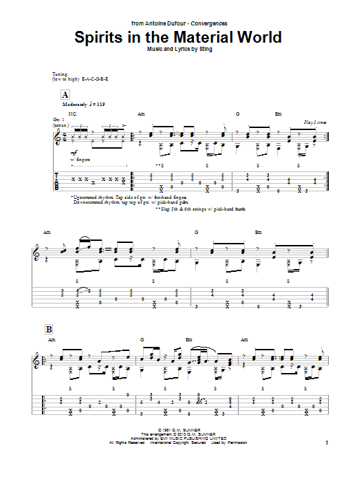 Antoine Dufour Spirits In The Material World sheet music notes and chords. Download Printable PDF.