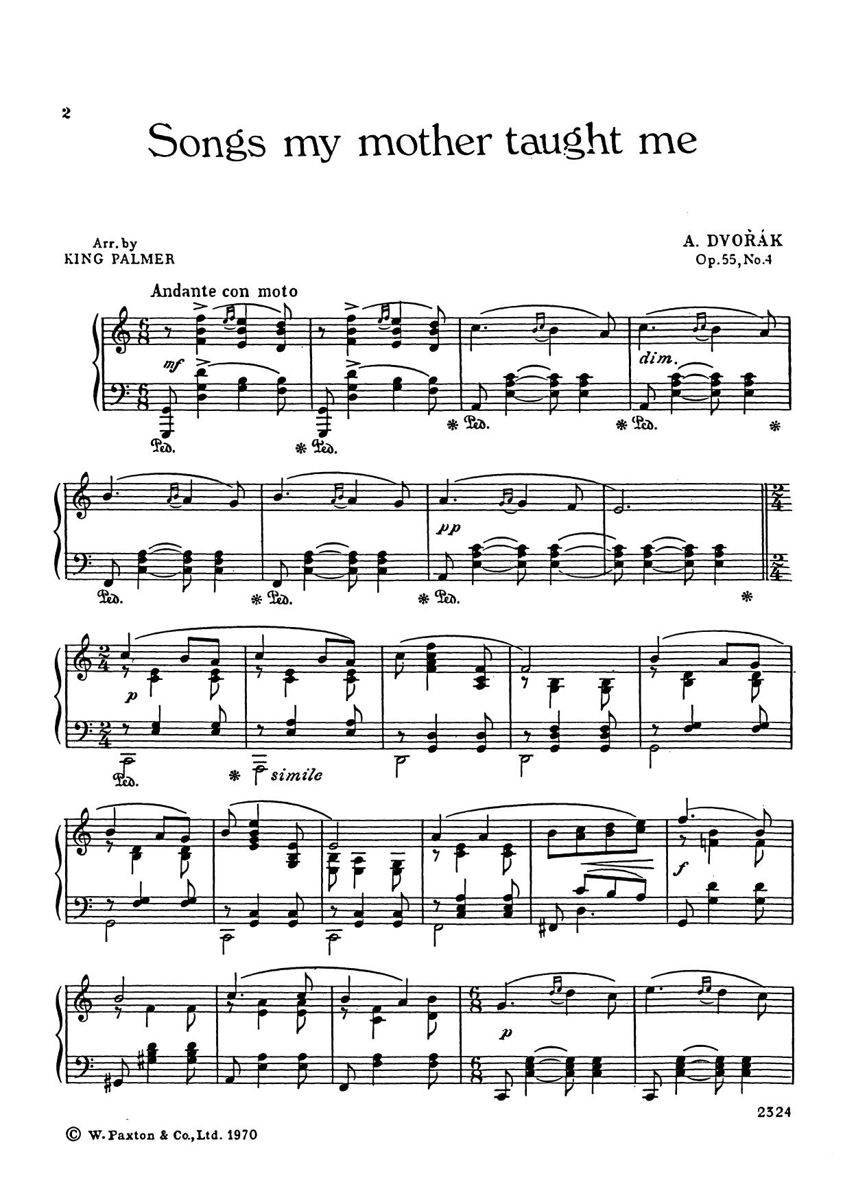 Antonin Dvorak Songs My Mother Taught Me sheet music notes and chords. Download Printable PDF.