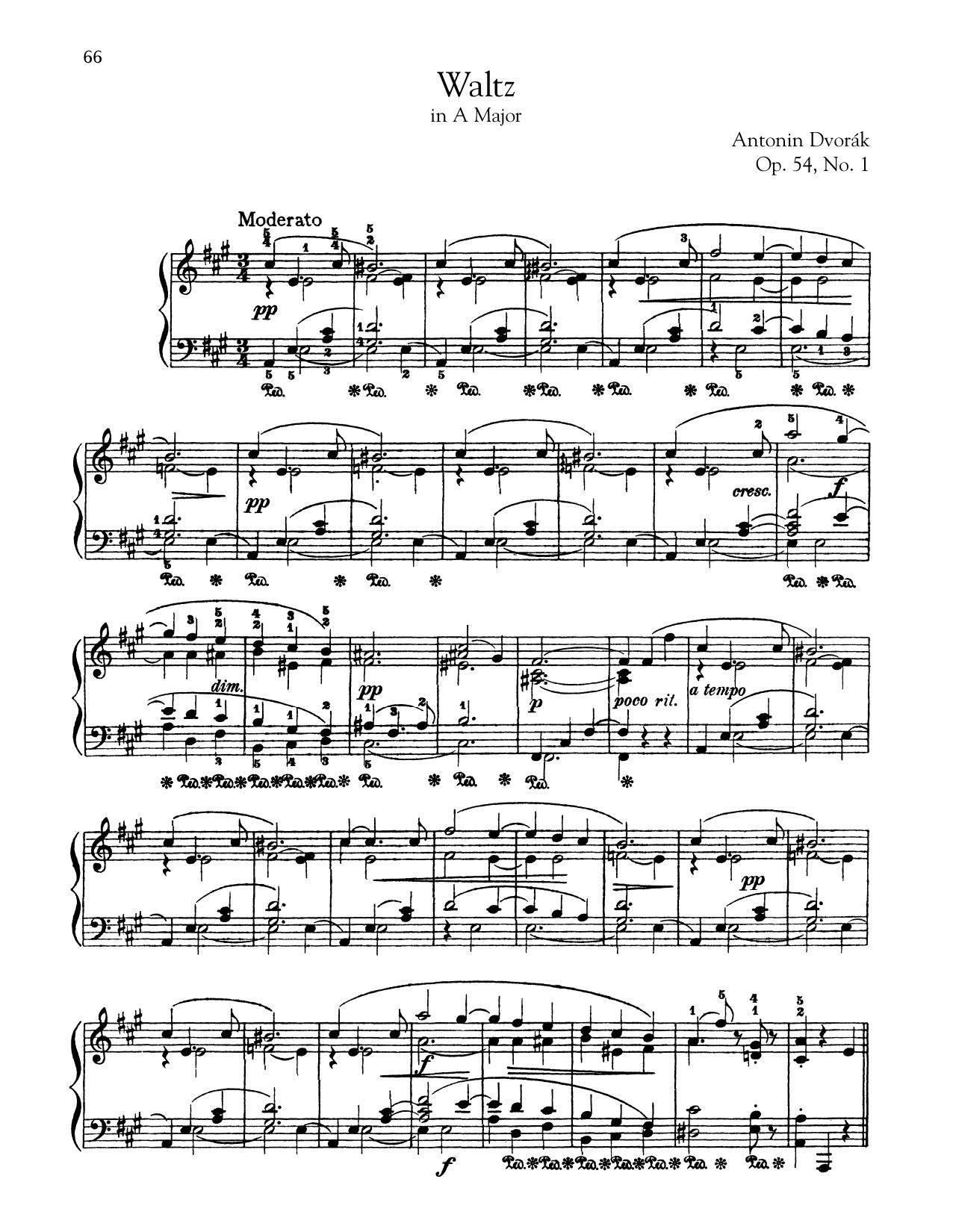 Antonin Dvorak Waltz In A Major, Op. 54, No. 1 sheet music notes and chords. Download Printable PDF.