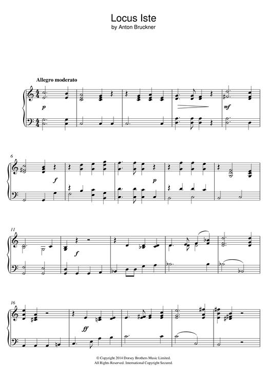 Anton Bruckner Locus Iste sheet music notes and chords. Download Printable PDF.