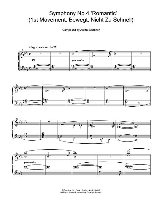 Anton Bruckner Symphony No.4 'Romantic' (1st Movement: Bewegt, Nicht Zu Schnell) sheet music notes and chords