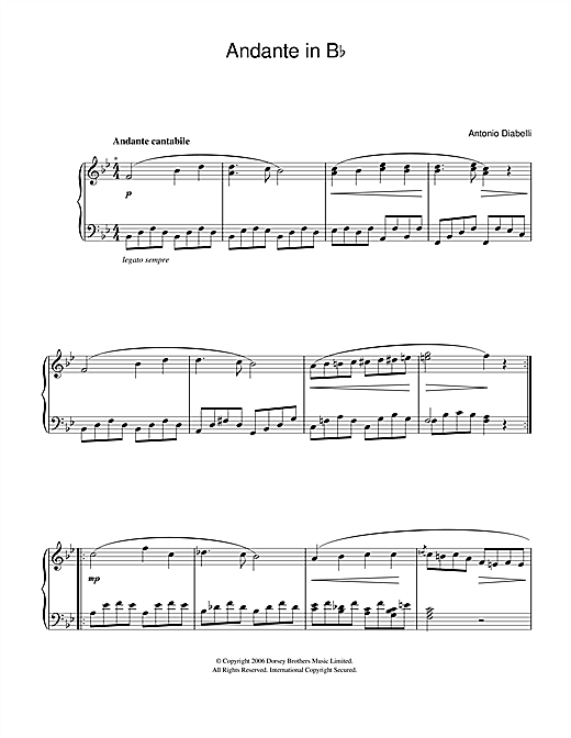 Anton Diabelli Andante In B Flat sheet music notes and chords. Download Printable PDF.