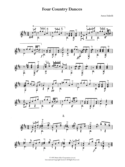 Anton Diabelli Four Country Dances sheet music notes and chords. Download Printable PDF.