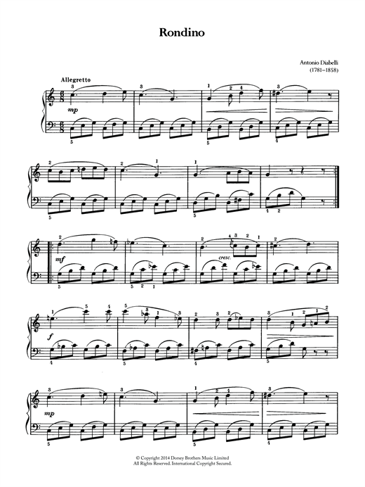 Anton Diabelli Rondino sheet music notes and chords. Download Printable PDF.