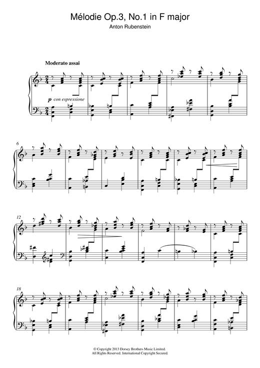 Anton Rubenstein Mélodie In F Major Op.3 No.1 sheet music notes and chords